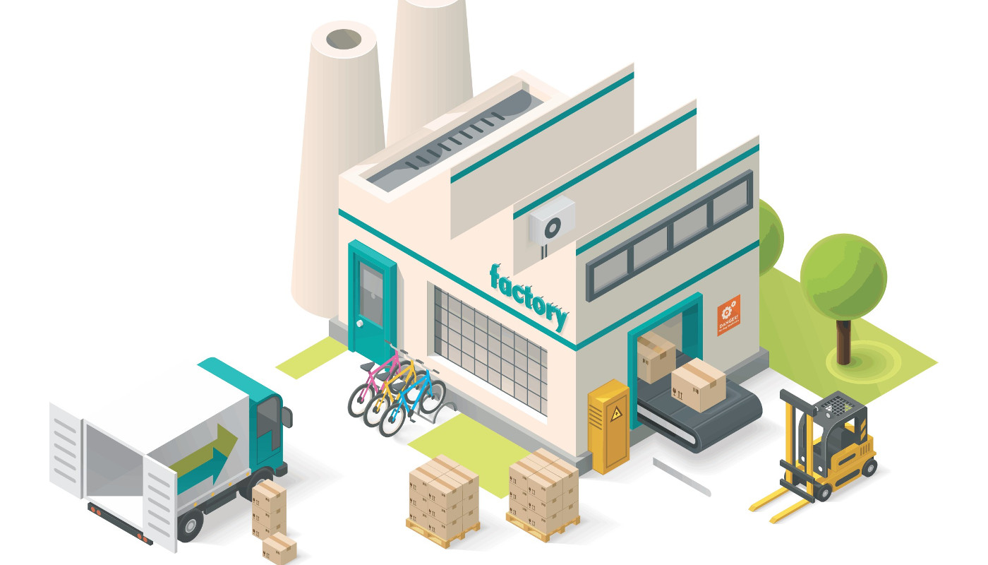 Cartoon-style factory exterior, with a delivery truck in front, loading up boxes of fresh goods.